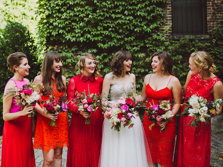 Crimson Red Mismatched Bridesmaid Dresses