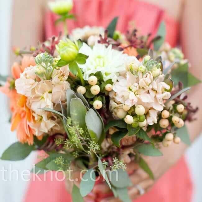 The bridesmaid bouquets looked similar to Alison's with peach gerbera daisies and brown kangaroo paw.