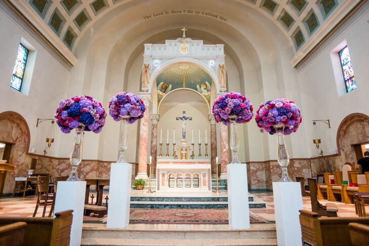 Modern, Jewel-Tone Floral Arrangements on White Pedestals at Saint Anthony