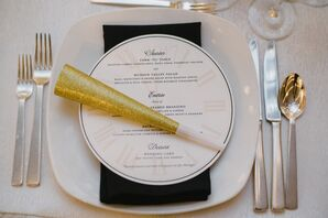New Year's Eve-Inspired Menu and Gold Noisemaker