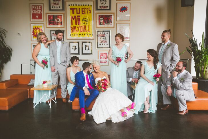 For the daytime wedding, each bridesmaid chose a Joanna August dress in the color I Want Candy for a flowing and relaxed look. The groomsmen wore light gray slim-fit suits with mint paisley ties and tie bars.