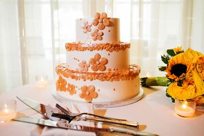 White and Coral Circle Decorated Wedding Cake