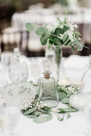 Elegant Centerpiece with Eucalyptus and Glassware