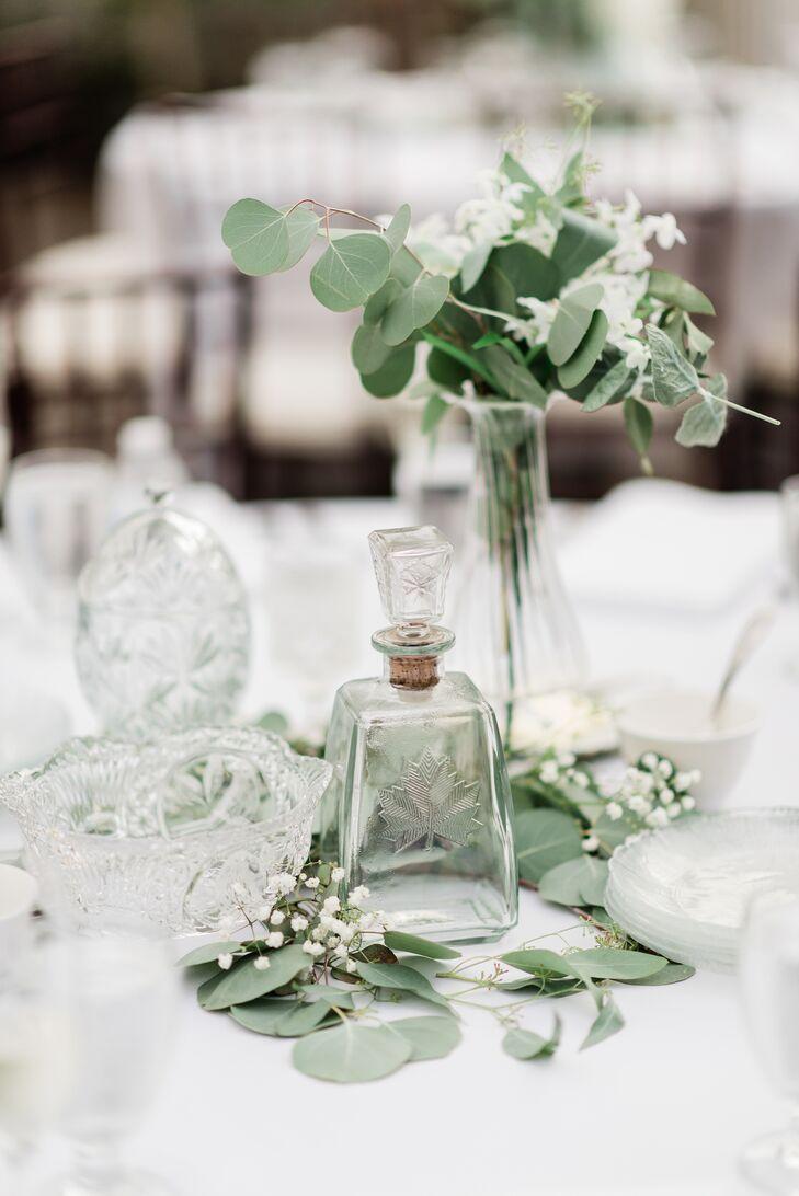 Elegant Centerpiece with Eucalyptus and Glassware