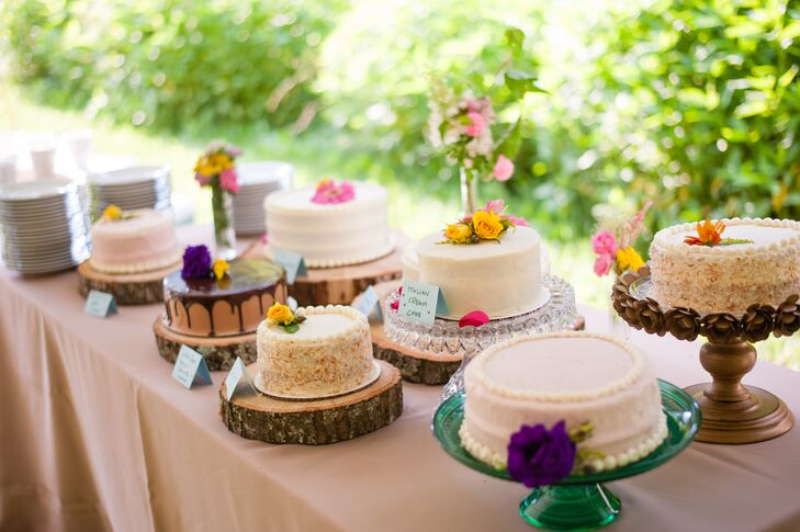 Assorted One,Tier Wedding Cake Table
