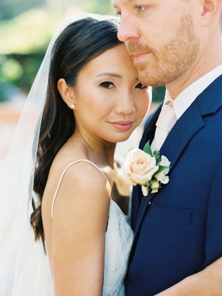 Couple Embracing During Wedding at Rancho Las Lomas in Silverado, California