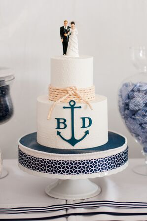 Nautical Ivory Wedding Cake With Topper