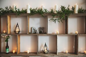 Candlelit Wooden Display Case