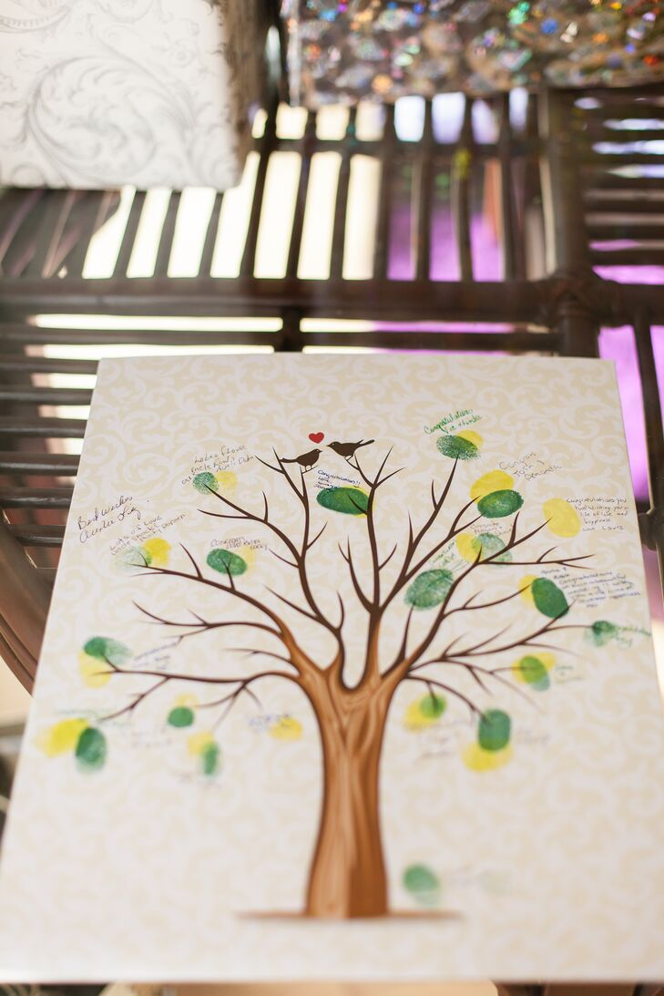 The couple had a fingerprint tree guest book, which fit in with the natural setting of their wedding.