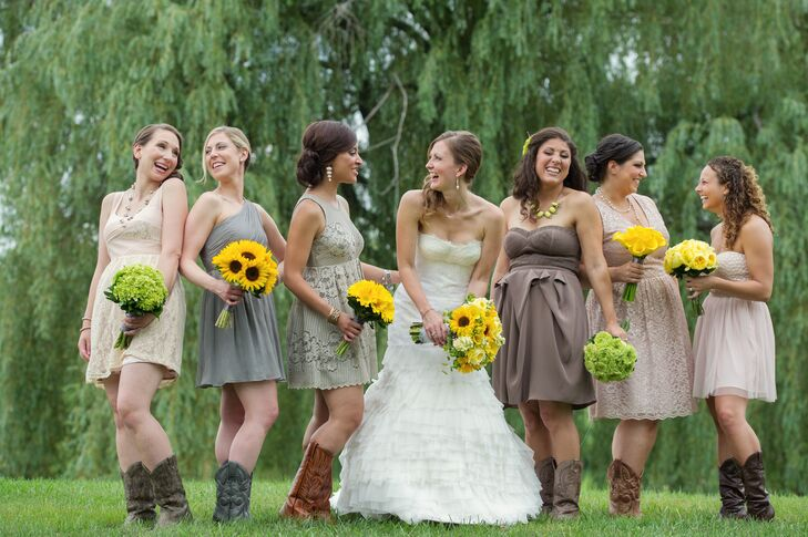 "Jessica wanted her bridesmaids to radiate confidence on the wedding day and that meant allowing them to wear something that was comfortable and fit their personal styles. ""I gave them the color palette and let them choose their own dresses with my only request being to wear cowboy boots,"" Jessica says. ""As usual, my friends didn't let me down and picked gorgeous, but simple dresses in various shades of gray, beige and pink."""