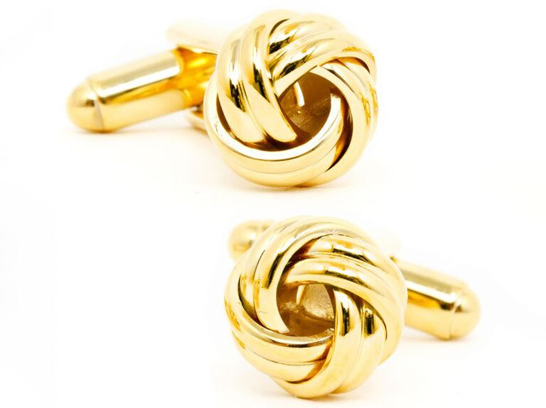 Meaningful gold knot cuff links gift for fiance