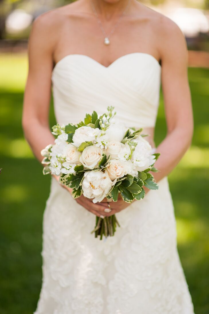 Light Bridal Bouquet with Hints of Green
