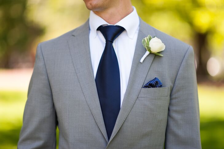 c282c698e8690 Gray Groom Suit with Navy Tie and Navy Pocket Square