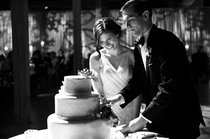 Cutting DIY Wedding Cake in Chicago