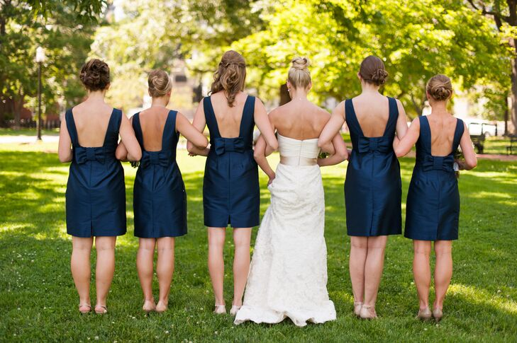 Navy Bridesmaid Dresses with Open Back