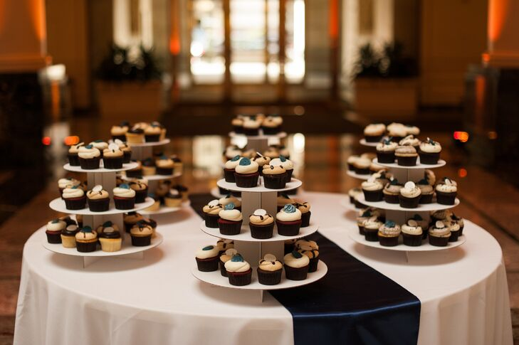 The bride and groom decided against a wedding cake, instead serving delicious cupcakes from Georgetown Cupcake.