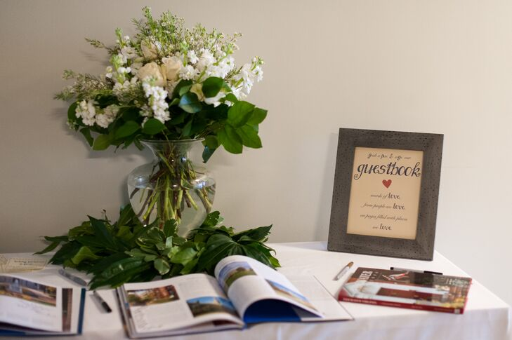 Reception Welcome Table with Floral and Frame Decor