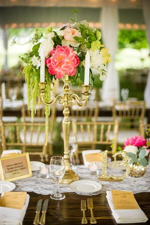 Gold Candelabra Centerpiece with Pink Peonies