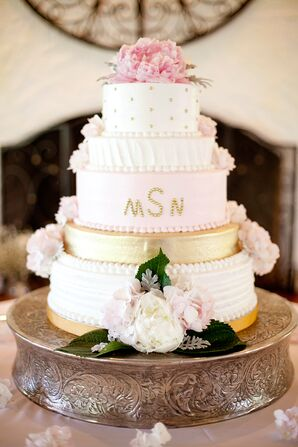 Three Tier Blush and Gold Wedding Cake