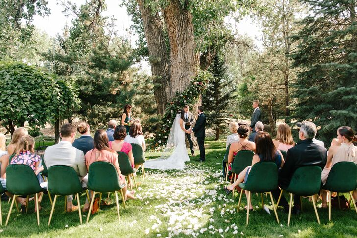 Outdoor Minimony in Colorado with Velvet Chairs