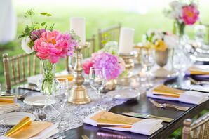 Single Bloom Pink Peony Centerpieces