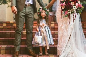 Flower Girl with Floral Crown and Flower Ribbon Sash