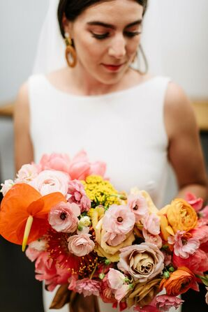 Modern, Vintage-Inspired Bouquet with Pink, Red and Orange Flowers