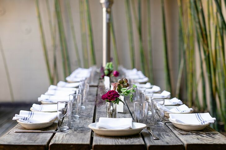 Rustic Farm Table with Casual White Place Settings