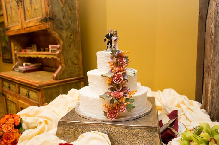 Three-Tier Wedding Cake with Cascading Flowers