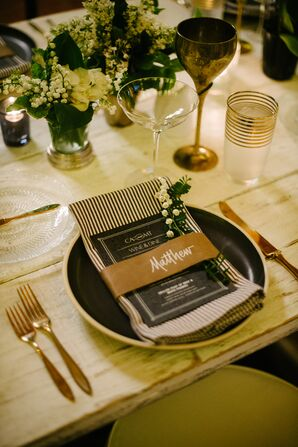 Black, White and Gold Modern Place Settings