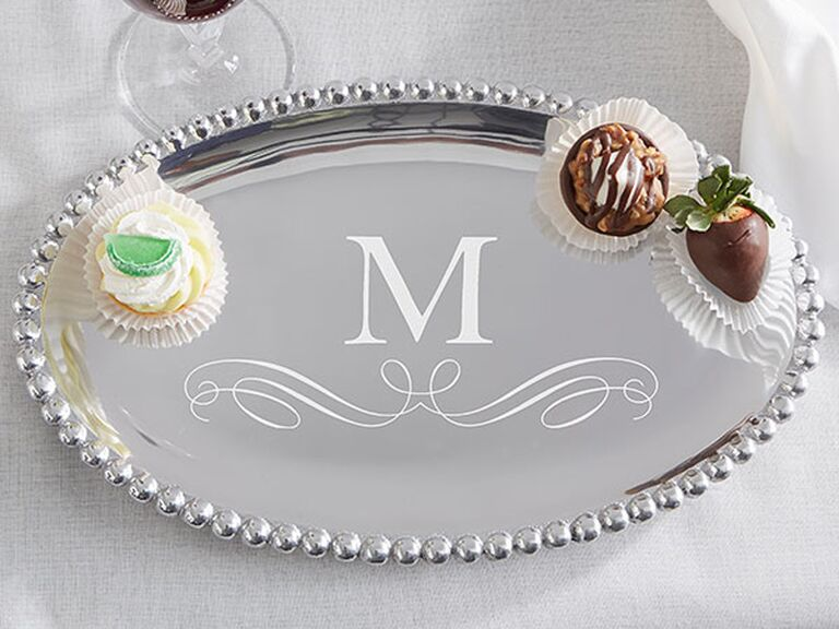 Aluminum serving tray traditional 10 year anniversary gift