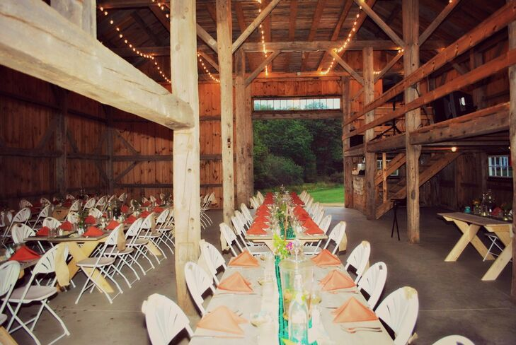 The reception was held in a 1800s reclaimed barn.