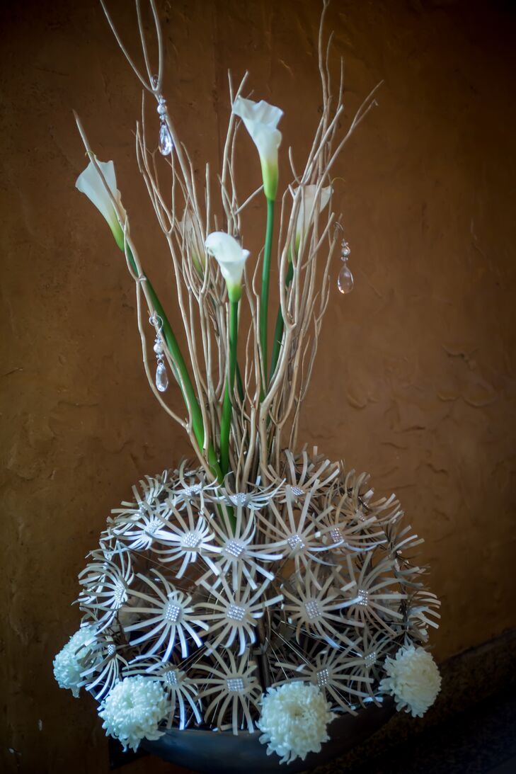 Modern White Calla Lily and Crystal Decor