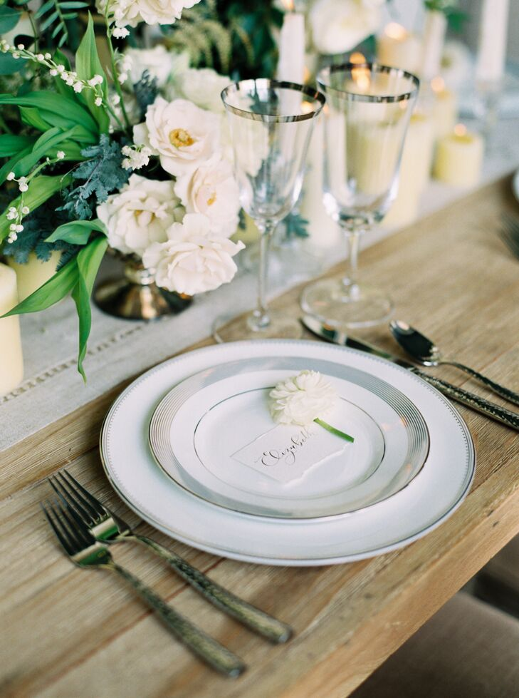 White and silver wedding china place setting