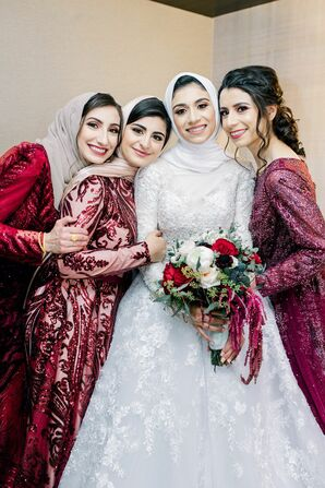 Bridal Party Wearing Hijabs for Wedding at the Durham Convention Center in North Carolina