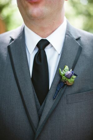 Green and Purple Boutonniere