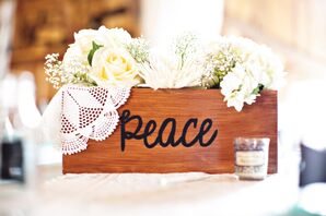 White Rose and Hydrangea Flower Box Centerpieces