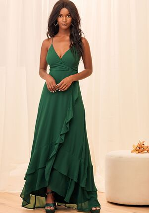Lulus In Love Forever Emerald Green Lace-Up High-Low Maxi Dress V-Neck Bridesmaid Dress