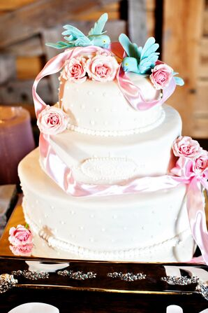 Delicate Pink Rose and Ribbon Cake Decor