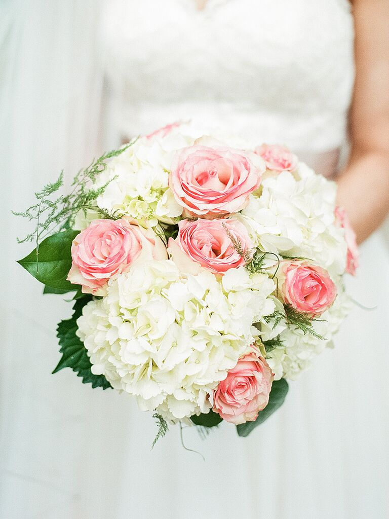 White and pink bouquet with hydrangea and roses