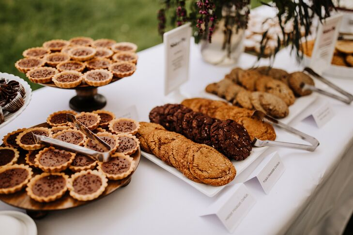Modern Dessert Table with Cookies and Tart