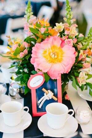 Coral and Navy Nautical Table Numbers