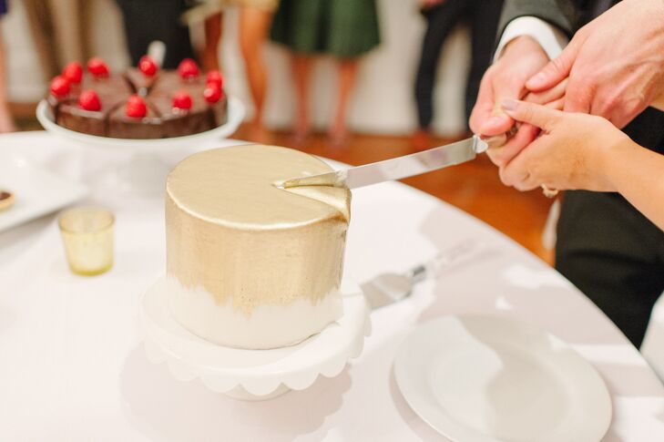 """Jennifer and Benjamin served a small pumpkin cake iced with cream cheese frosting. It was for cutting since they both aren't cake fans. """"Instead of a cake, we offered our guests a chocolate dessert display that included truffles, brownies and mini tiramisu,"""" Jennifer says."""