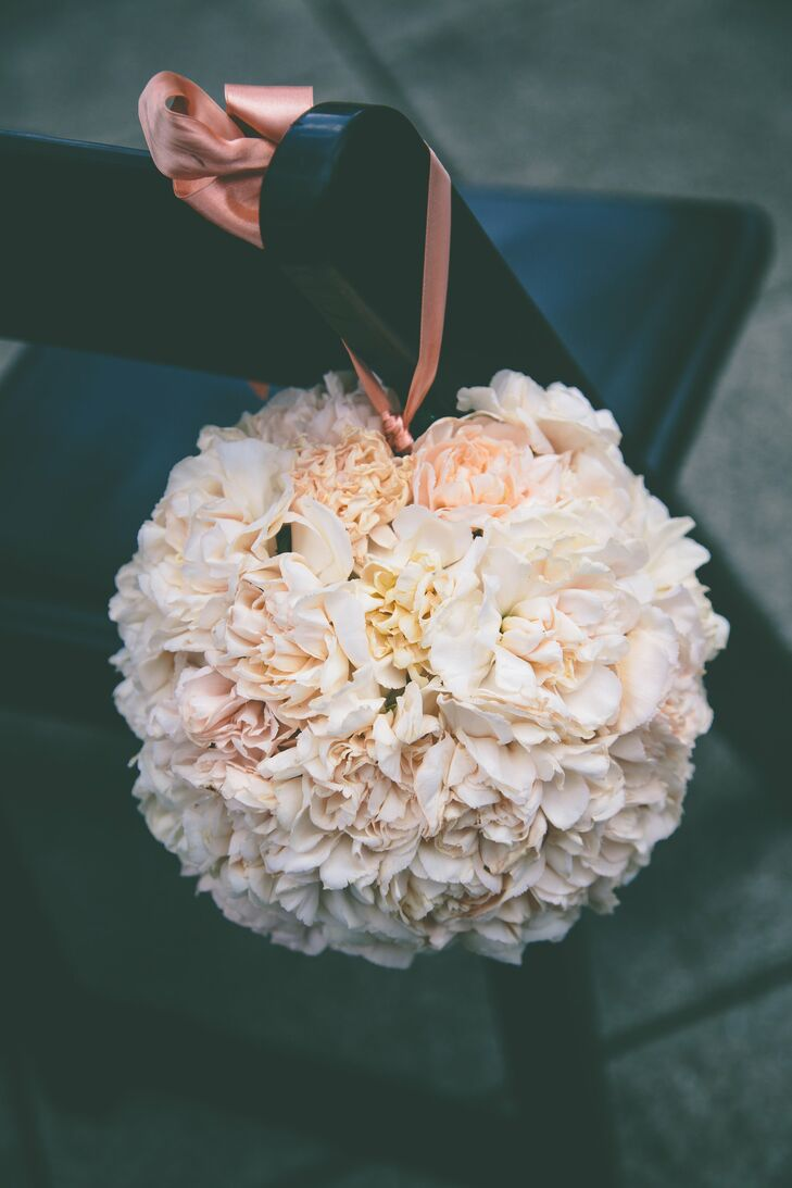 Blush Floral Pomander Aisle Decorations