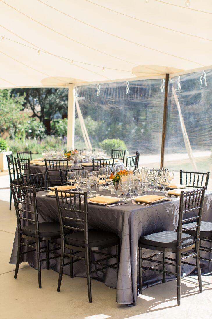Gray Dining Tables, Black Chiavari Chairs