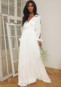 Lulus Divine Love White Striped Long Sleeve Maxi Dress A-Line Wedding Dress
