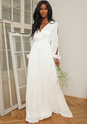 Lulus Divine Love White Striped Long Sleeve Maxi Dress A-Line Wedding Dress