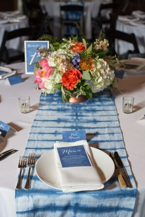 Modern Blue Tie-Dyed Table Runner
