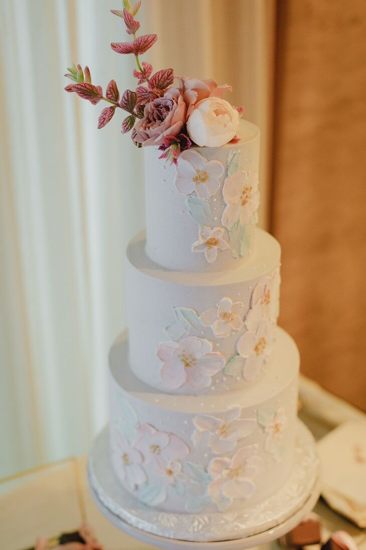 Romantic Tiered Fondant Wedding Cake with Flower Appliqués