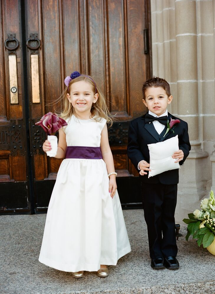 8153db4bba Classic Flower Girl and Ring Bearer Attire with Purple Accents